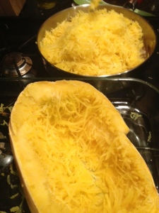 Add shredded squash to the pan
