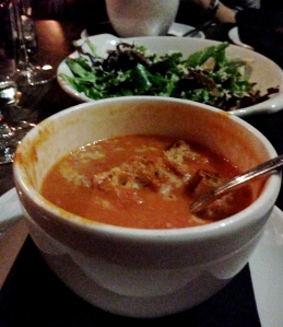 Tomato Soup and Green Salad at Beecher's