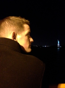 Tom and Lady Liberty on the Staten Island Ferry